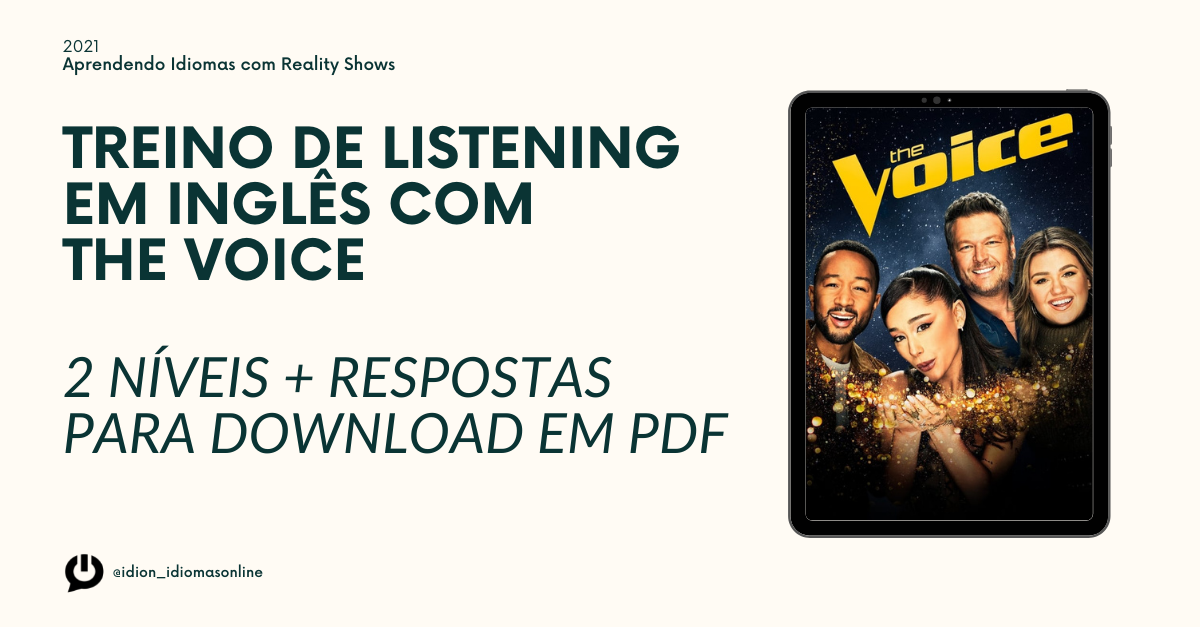 Atividades para download com respostas - Treino de Listening com The Voice